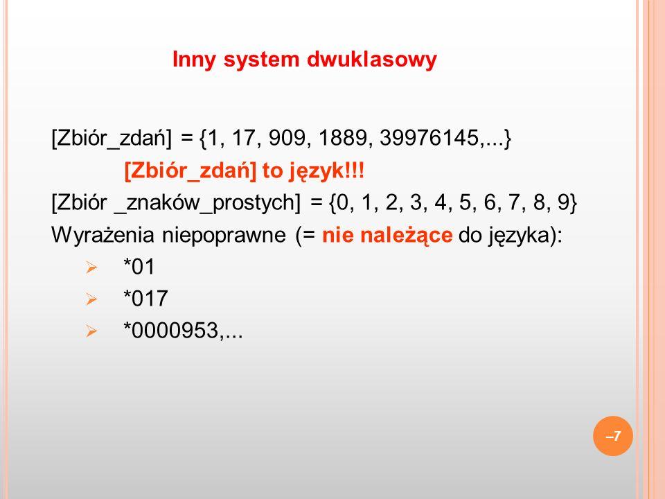[Zbiór_zdań] = {1, 17, 909, 1889, 39976145,...} [Zbiór_zdań] to język!!! [Zbiór _znaków_prostych] = {0, 1, 2, 3, 4, 5, 6, 7, 8, 9} Wyrażenia niepopraw