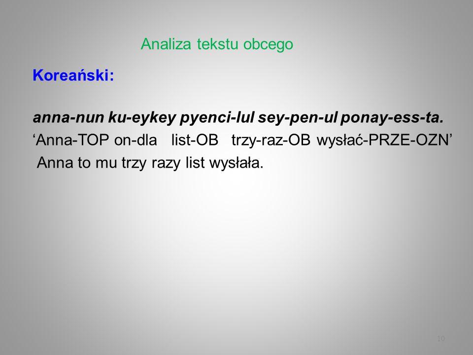 10 Koreański: anna-nun ku-eykey pyenci-lul sey-pen-ul ponay-ess-ta. Anna-TOP on-dla list-OB trzy-raz-OB wysłać-PRZE-OZN Anna to mu trzy razy list wysł