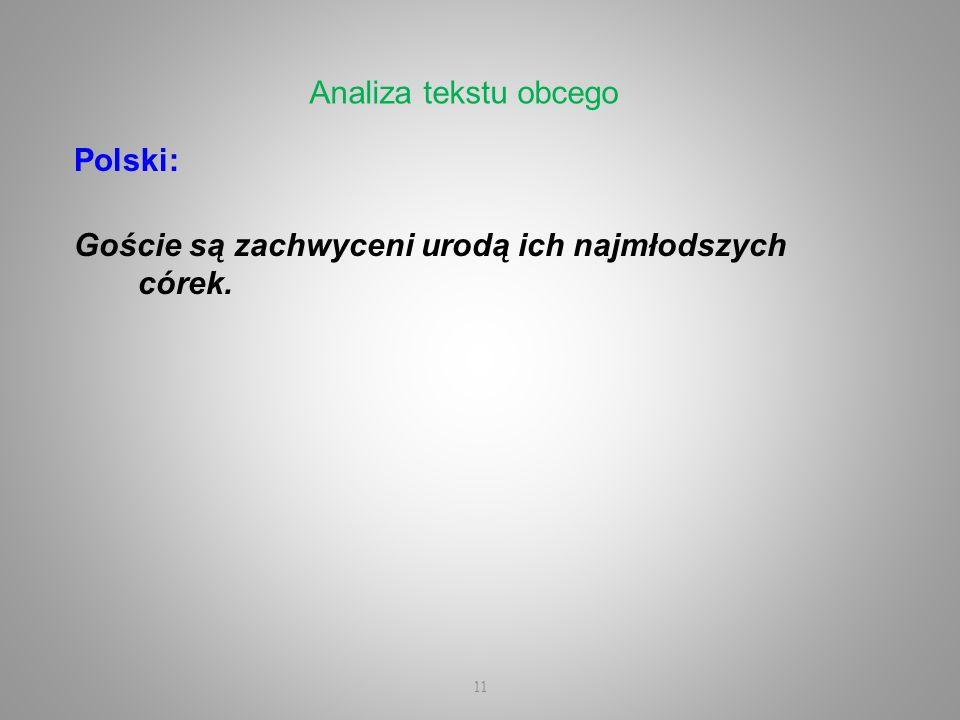 Polski: Goście są zachwyceni urodą ich najmłodszych córek. 11 Analiza tekstu obcego