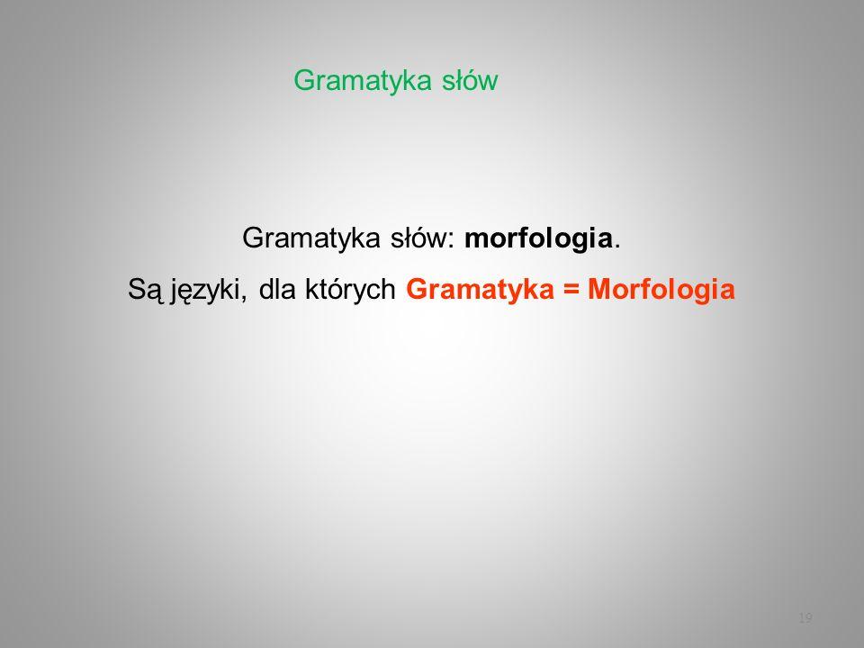 19 Gramatyka słów: morfologia. Są języki, dla których Gramatyka = Morfologia Gramatyka słów