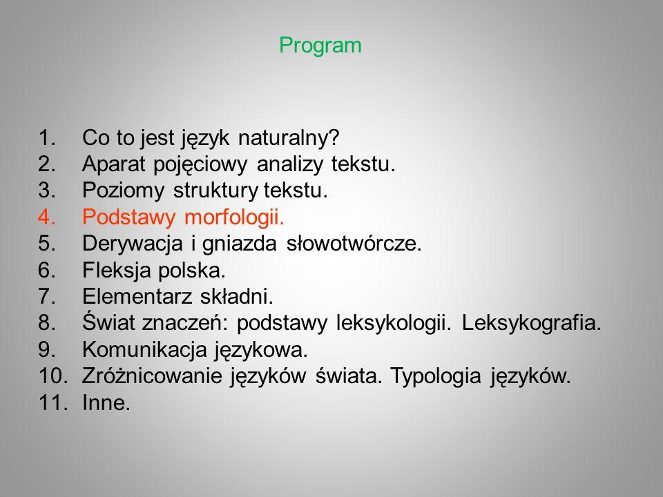 Program 1.Co to jest język naturalny? 2.Aparat pojęciowy analizy tekstu. 3.Poziomy struktury tekstu. 4.Podstawy morfologii. 5.Derywacja i gniazda słow