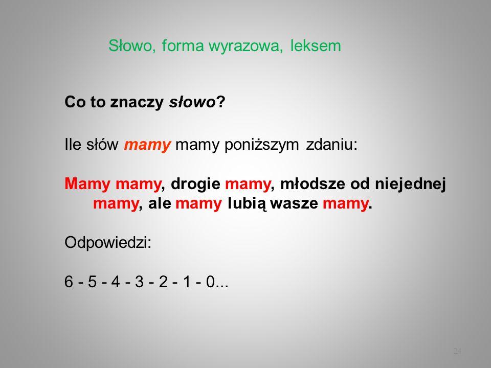 24 Co to znaczy słowo? Ile słów mamy mamy poniższym zdaniu: Mamy mamy, drogie mamy, młodsze od niejednej mamy, ale mamy lubią wasze mamy. Odpowiedzi:
