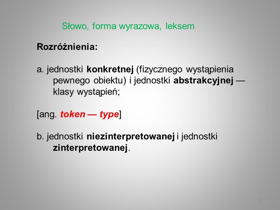 25 Rozróżnienia: a. jednostki konkretnej (fizycznego wystąpienia pewnego obiektu) i jednostki abstrakcyjnej klasy wystąpień; [ang. token type] b. jedn