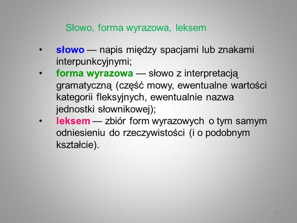 26 słowo napis między spacjami lub znakami interpunkcyjnymi; forma wyrazowa słowo z interpretacją gramatyczną (część mowy, ewentualne wartości kategor