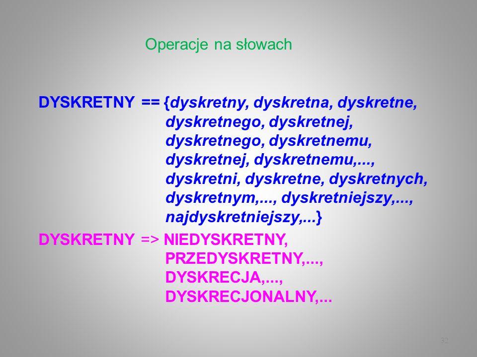 32 DYSKRETNY == {dyskretny, dyskretna, dyskretne, dyskretnego, dyskretnej, dyskretnego, dyskretnemu, dyskretnej, dyskretnemu,..., dyskretni, dyskretne