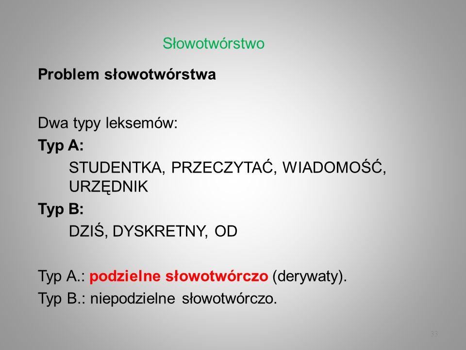 33 Problem słowotwórstwa Dwa typy leksemów: Typ A: STUDENTKA, PRZECZYTAĆ, WIADOMOŚĆ, URZĘDNIK Typ B: DZIŚ, DYSKRETNY, OD Typ A.: podzielne słowotwórcz