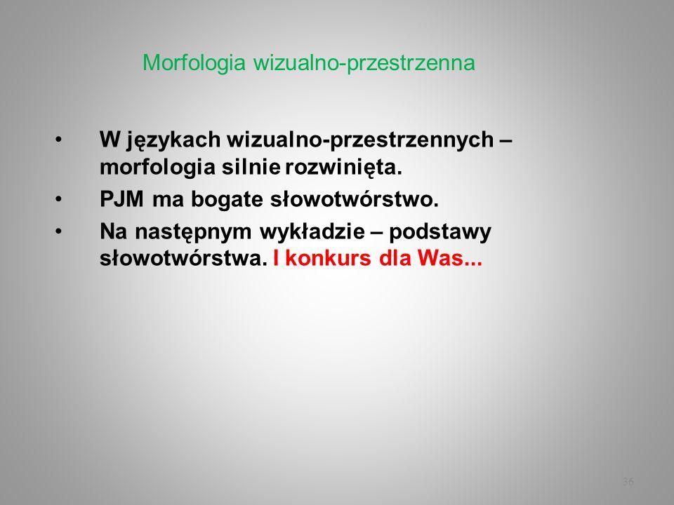 36 W językach wizualno-przestrzennych – morfologia silnie rozwinięta. PJM ma bogate słowotwórstwo. Na następnym wykładzie – podstawy słowotwórstwa. I