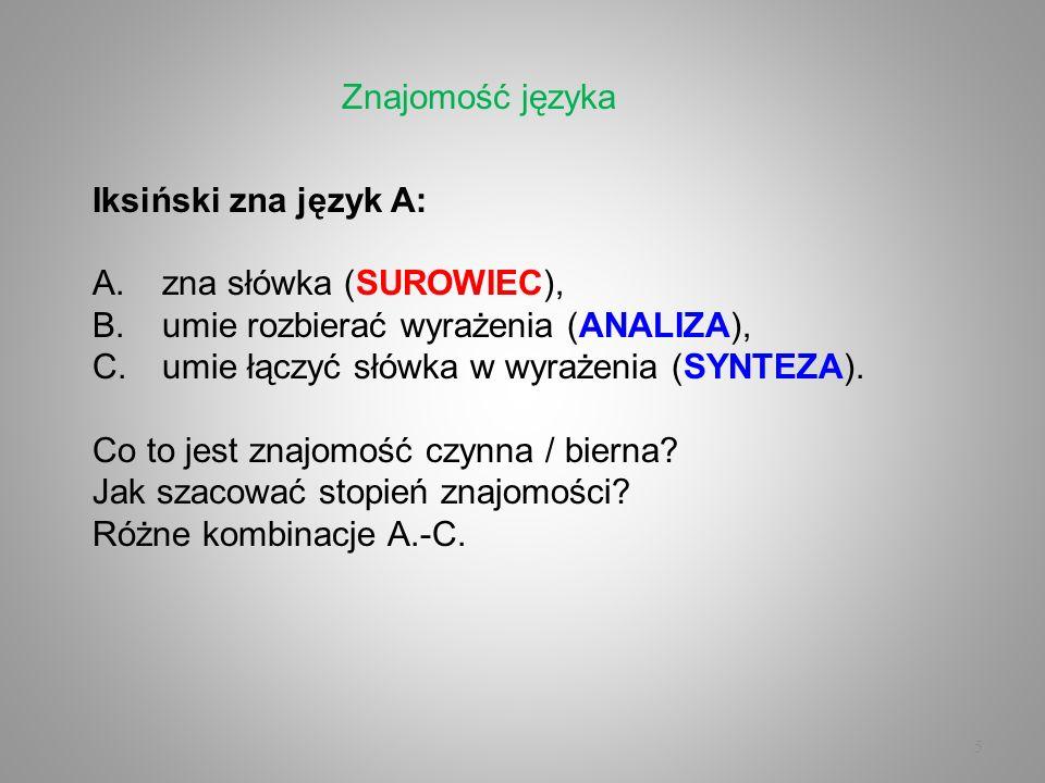 5 Iksiński zna język A: A.zna słówka (SUROWIEC), B.umie rozbierać wyrażenia (ANALIZA), C.umie łączyć słówka w wyrażenia (SYNTEZA). Co to jest znajomoś