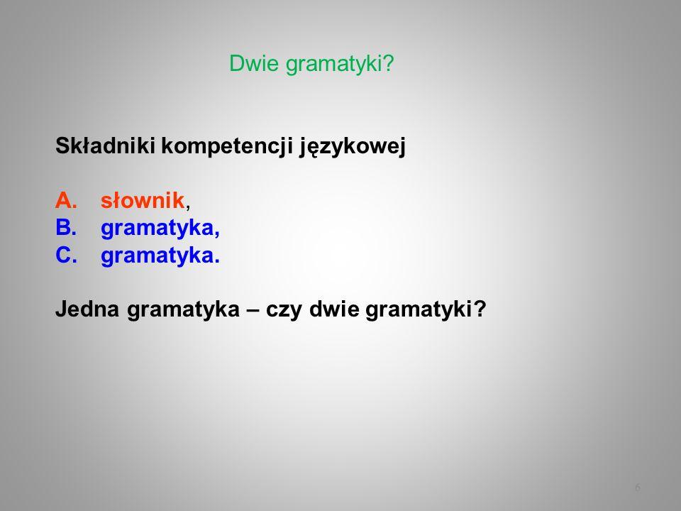 6 Składniki kompetencji językowej A.słownik, B.gramatyka, C.gramatyka. Jedna gramatyka – czy dwie gramatyki? Dwie gramatyki?