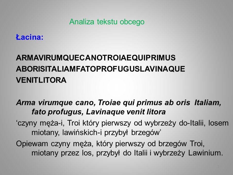 7 Łacina: ARMAVIRUMQUECANOTROIAEQUIPRIMUS ABORISITALIAMFATOPROFUGUSLAVINAQUE VENITLITORA Arma virumque cano, Troiae qui primus ab oris Italiam, fato p