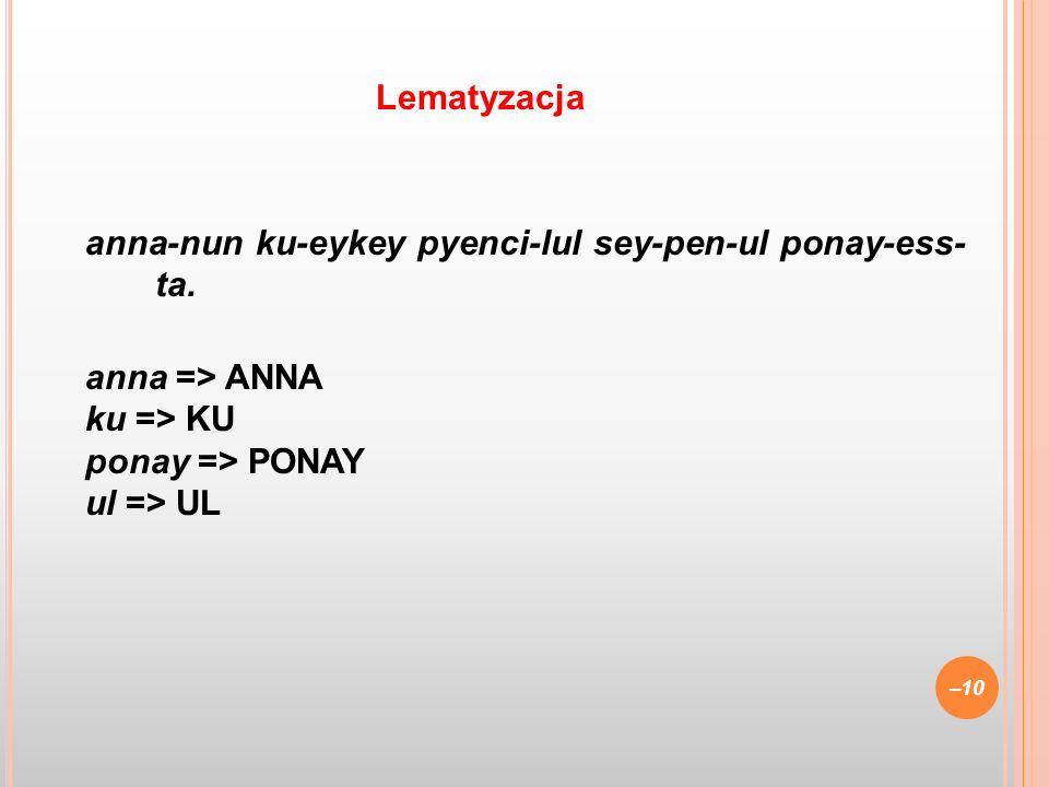 anna-nun ku-eykey pyenci-lul sey-pen-ul ponay-ess- ta. anna => ANNA ku => KU ponay => PONAY ul => UL –10 Lematyzacja