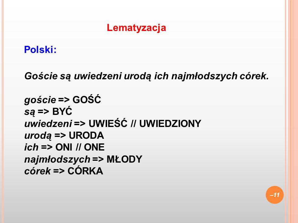 Polski: Goście są uwiedzeni urodą ich najmłodszych córek. goście => GOŚĆ są => BYĆ uwiedzeni => UWIEŚĆ // UWIEDZIONY urodą => URODA ich => ONI // ONE