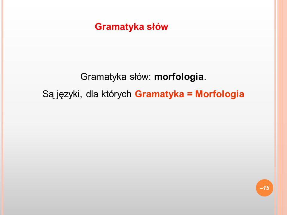 Gramatyka słów: morfologia. Są języki, dla których Gramatyka = Morfologia –15 Gramatyka słów