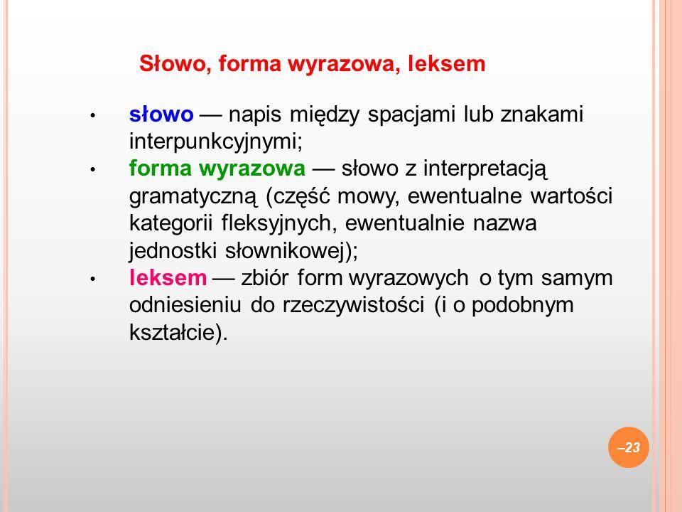 słowo napis między spacjami lub znakami interpunkcyjnymi; forma wyrazowa słowo z interpretacją gramatyczną (część mowy, ewentualne wartości kategorii