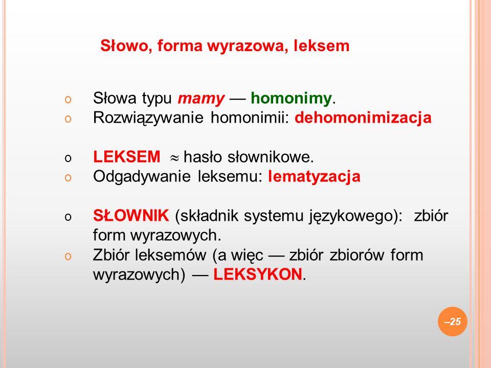 o Słowa typu mamy homonimy. o Rozwiązywanie homonimii: dehomonimizacja o LEKSEM hasło słownikowe. o Odgadywanie leksemu: lematyzacja o SŁOWNIK (składn