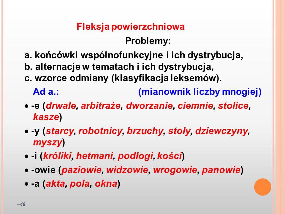 –48 Problemy: a. końcówki wspólnofunkcyjne i ich dystrybucja, b. alternacje w tematach i ich dystrybucja, c. wzorce odmiany (klasyfikacja leksemów). A