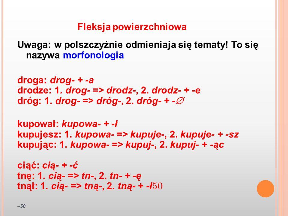 –50 Uwaga: w polszczyźnie odmieniaja się tematy! To się nazywa morfonologia droga: drog- + -a drodze: 1. drog- => drodz-, 2. drodz- + -e dróg: 1. drog
