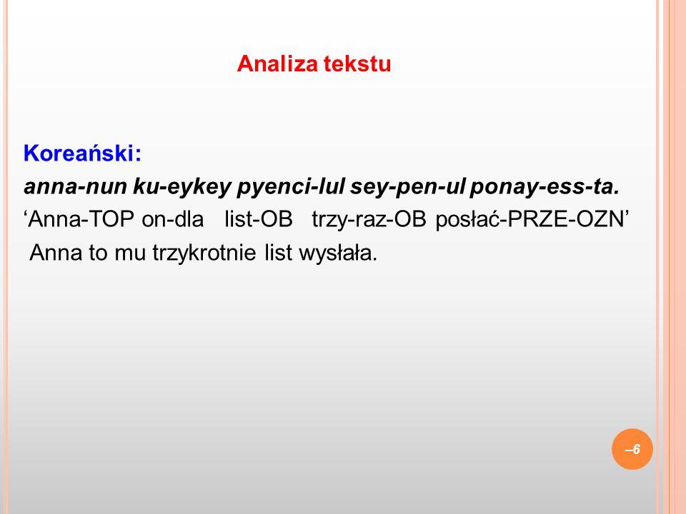 Koreański: anna-nun ku-eykey pyenci-lul sey-pen-ul ponay-ess-ta. Anna-TOP on-dla list-OB trzy-raz-OB posłać-PRZE-OZN Anna to mu trzykrotnie list wysła