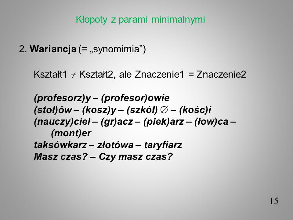 15 2. Wariancja (= synomimia) Kształt1 Kształt2, ale Znaczenie1 = Znaczenie2 (profesorz)y – (profesor)owie (stoł)ów – (kosz)y – (szkół) – (kośc)i (nau