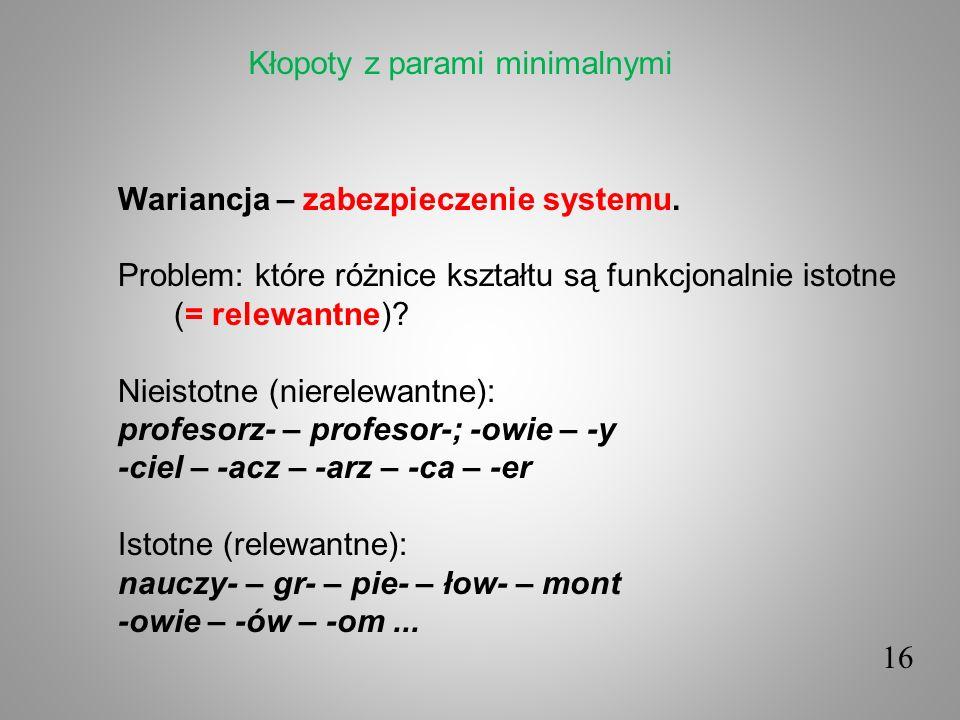 16 Wariancja – zabezpieczenie systemu. Problem: które różnice kształtu są funkcjonalnie istotne (= relewantne)? Nieistotne (nierelewantne): profesorz-