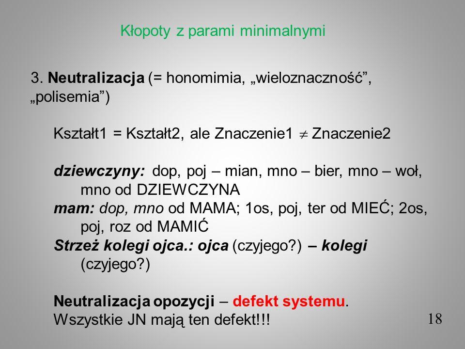 18 3. Neutralizacja (= honomimia, wieloznaczność, polisemia) Kształt1 = Kształt2, ale Znaczenie1 Znaczenie2 dziewczyny: dop, poj – mian, mno – bier, m