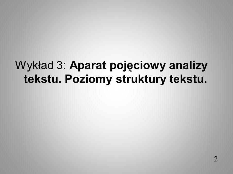 Wykład 3: Aparat pojęciowy analizy tekstu. Poziomy struktury tekstu. 2