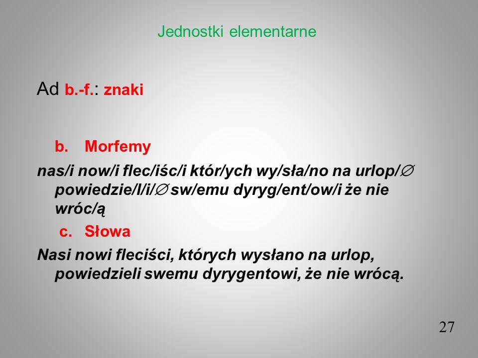 Ad b.-f. : znaki b.Morfemy nas/i now/i flec/iśc/i któr/ych wy/sła/no na urlop/ powiedzie/l/i/ sw/emu dyryg/ent/ow/i że nie wróc/ą c. Słowa Nasi nowi f