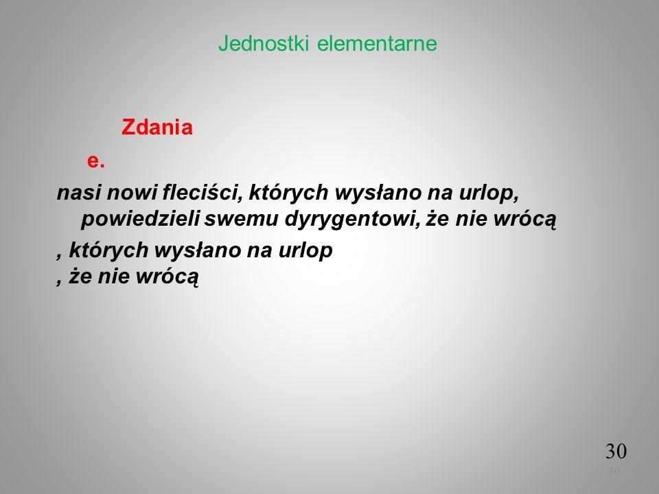 Zdania e. nasi nowi fleciści, których wysłano na urlop, powiedzieli swemu dyrygentowi, że nie wrócą, których wysłano na urlop, że nie wrócą 30 Jednost