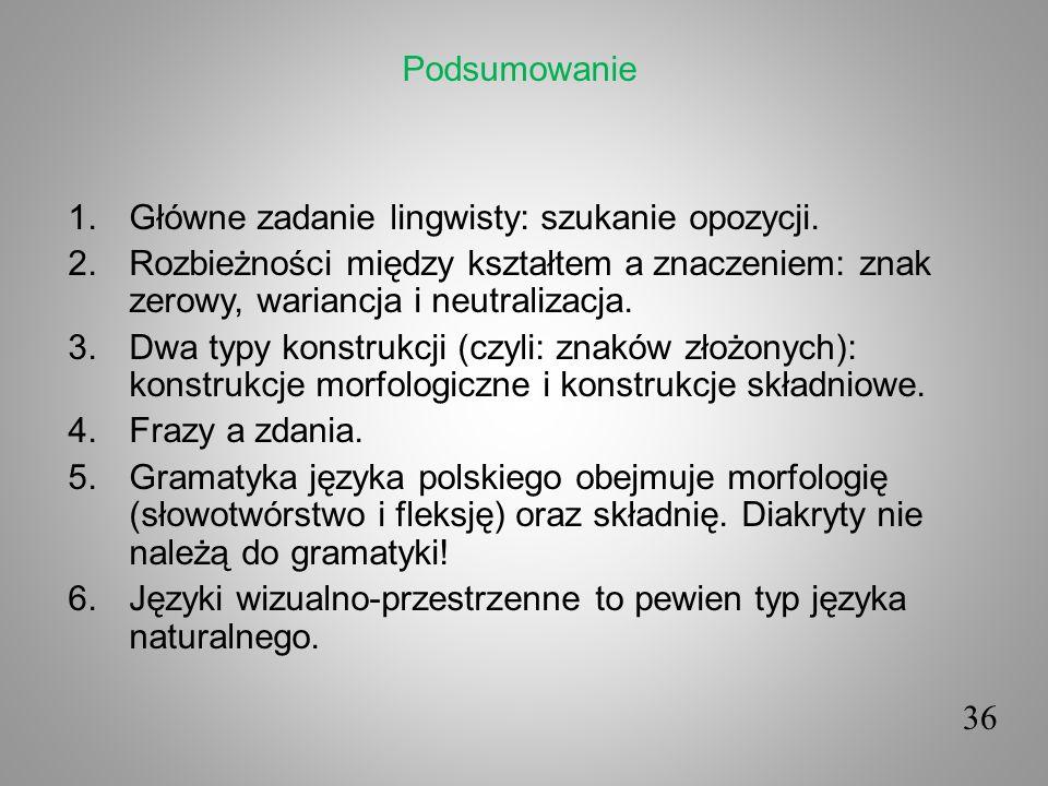 36 1.Główne zadanie lingwisty: szukanie opozycji. 2.Rozbieżności między kształtem a znaczeniem: znak zerowy, wariancja i neutralizacja. 3.Dwa typy kon