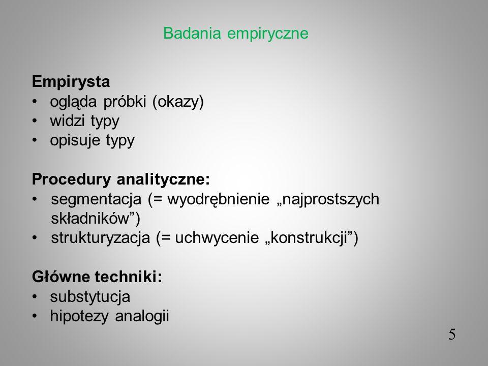 5 Empirysta ogląda próbki (okazy) widzi typy opisuje typy Procedury analityczne: segmentacja (= wyodrębnienie najprostszych składników) strukturyzacja