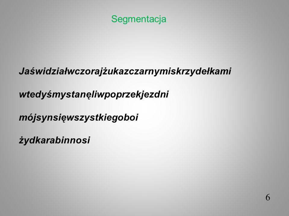 6 Jaświdziałwczorajżukazczarnymiskrzydełkami wtedyśmystanęliwpoprzekjezdni mójsynsięwszystkiegoboi żydkarabinnosi Segmentacja