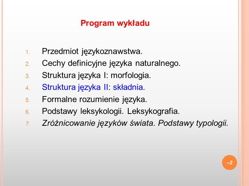 1. Przedmiot językoznawstwa. 2. Cechy definicyjne języka naturalnego. 3. Struktura języka I: morfologia. 4. Struktura języka II: składnia. 5. Formalne