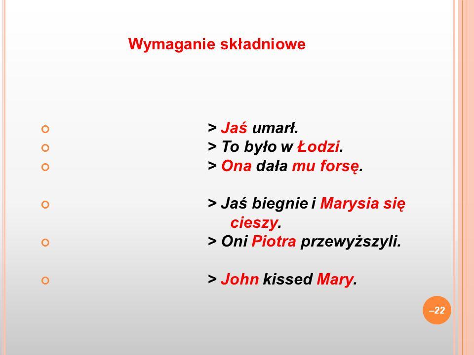 > Jaś umarł. > To było w Łodzi. > Ona dała mu forsę. > Jaś biegnie i Marysia się cieszy. > Oni Piotra przewyższyli. > John kissed Mary. –22 Wymaganie