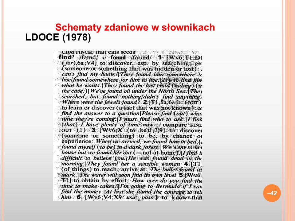 LDOCE (1978) –42 Schematy zdaniowe w słownikach