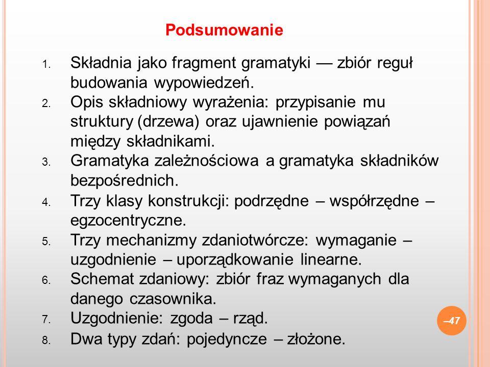 1. Składnia jako fragment gramatyki zbiór reguł budowania wypowiedzeń. 2. Opis składniowy wyrażenia: przypisanie mu struktury (drzewa) oraz ujawnienie
