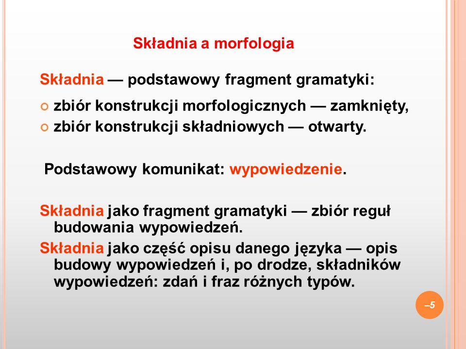 Składnia podstawowy fragment gramatyki: zbiór konstrukcji morfologicznych zamknięty, zbiór konstrukcji składniowych otwarty. Podstawowy komunikat: wyp