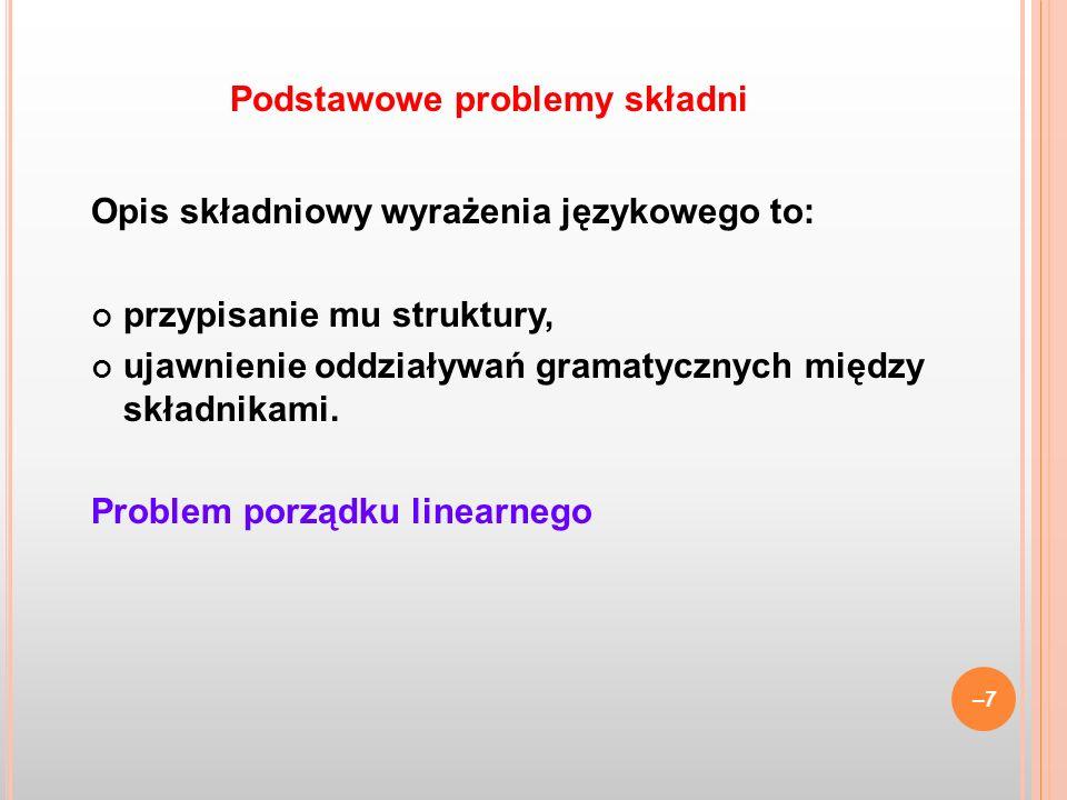 Dwie teorie strukturalne gramatyka zależnościowa: Tesniére, Melčuk, Czesi, szkoła podstawowa w Polsce gramatyka składników bezpośrednich: dystrybucjonizm amerykański, lingwistyka formalna i informatyczna Obie teorie posługują się drzewami.