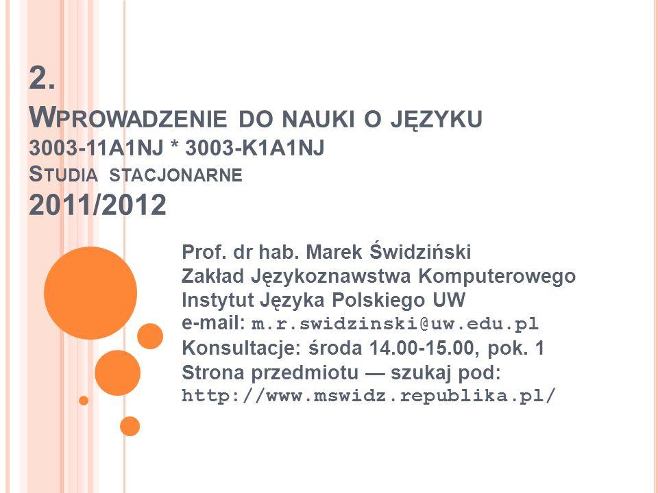 2.W PROWADZENIE DO NAUKI O JĘZYKU 3003-11A1NJ * 3003-K1A1NJ S TUDIA STACJONARNE 2011/2012 Prof.