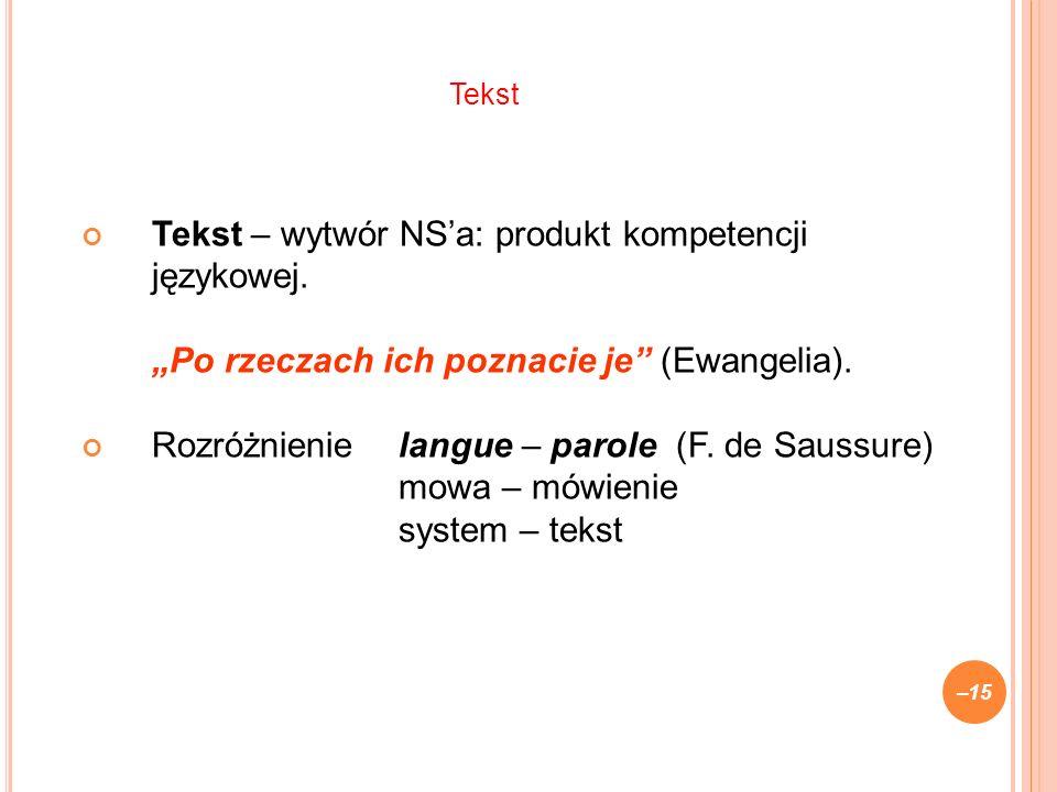 Tekst – wytwór NSa: produkt kompetencji językowej.