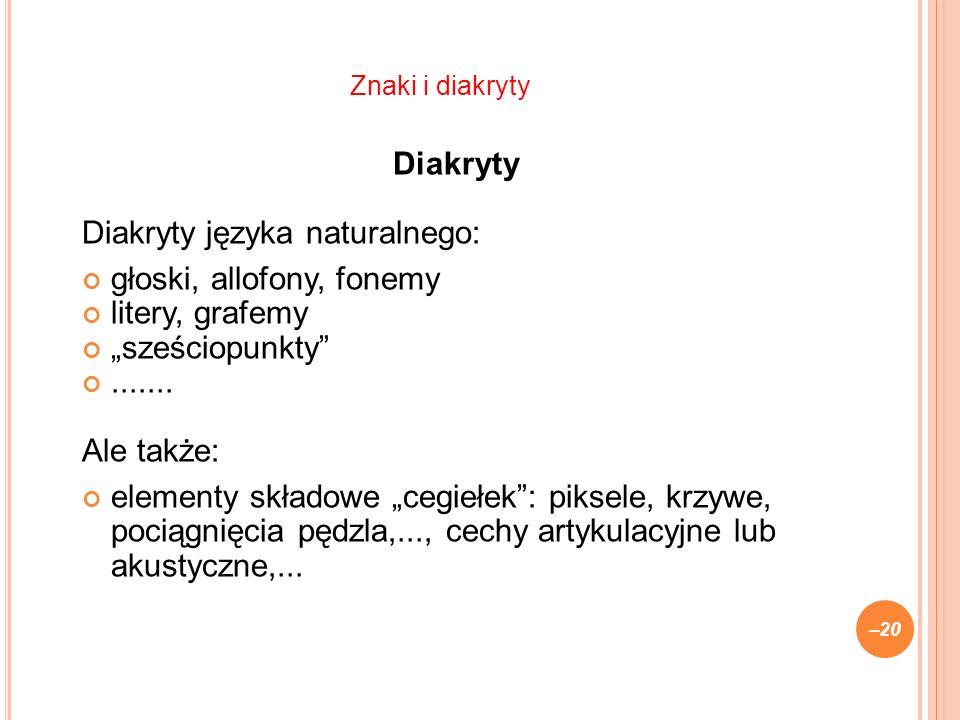 Diakryty Diakryty języka naturalnego: głoski, allofony, fonemy litery, grafemy sześciopunkty.......