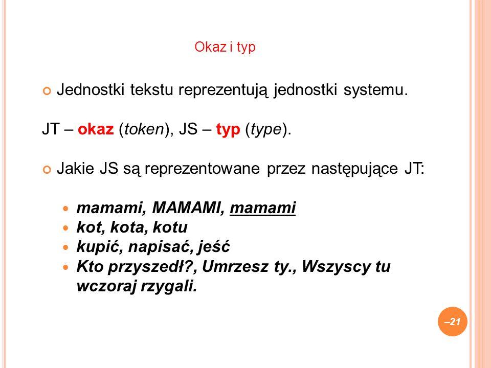Jednostki tekstu reprezentują jednostki systemu. JT – okaz (token), JS – typ (type). Jakie JS są reprezentowane przez następujące JT: mamami, MAMAMI,