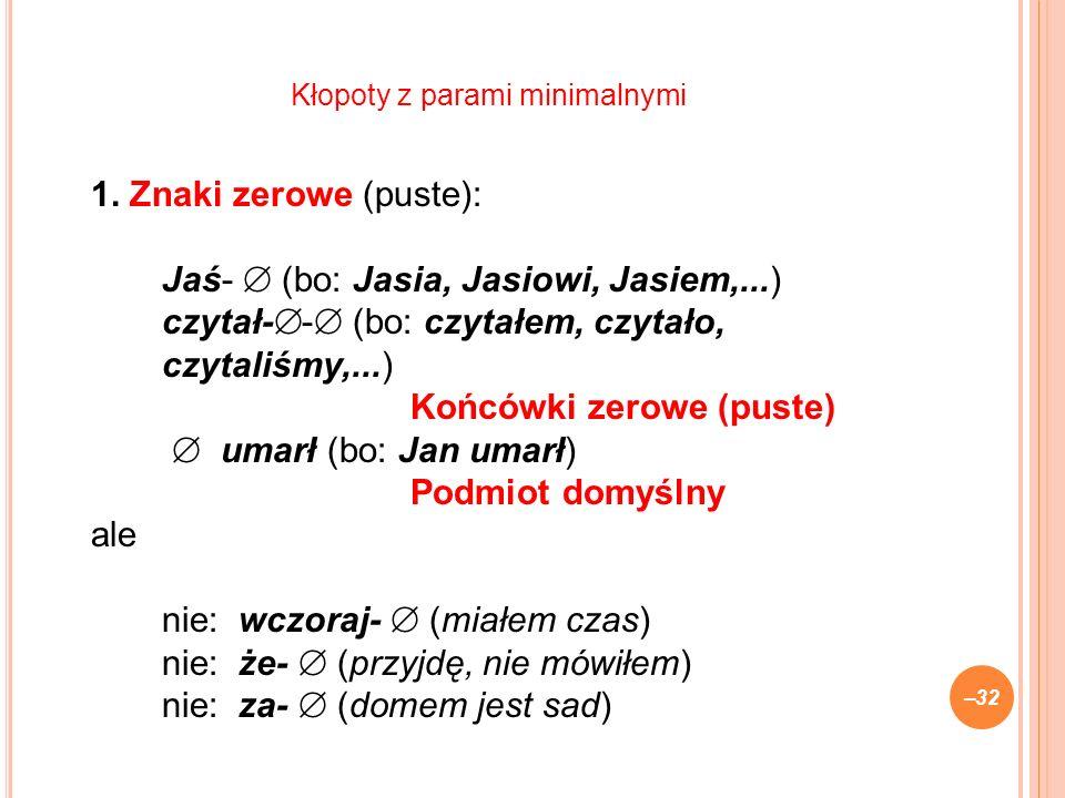 1. Znaki zerowe (puste): Jaś- (bo: Jasia, Jasiowi, Jasiem,...) czytał- - (bo: czytałem, czytało, czytaliśmy,...) Końcówki zerowe (puste) umarł (bo: Ja