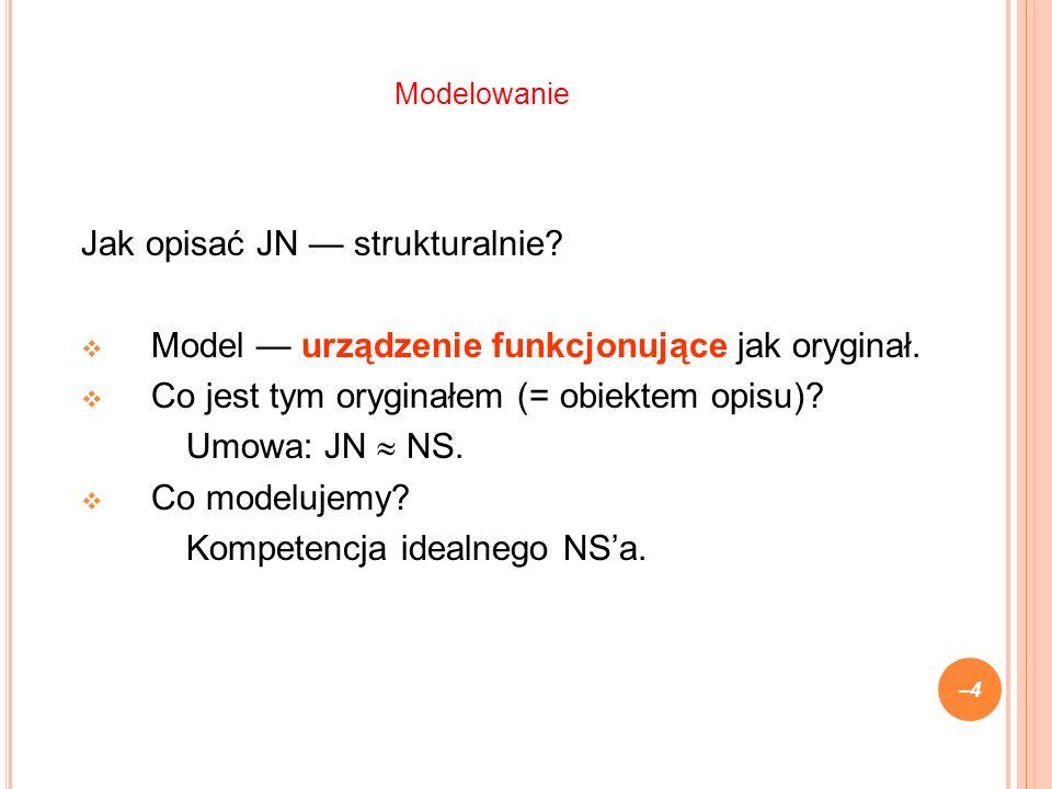 Jak opisać JN strukturalnie. Model urządzenie funkcjonujące jak oryginał.
