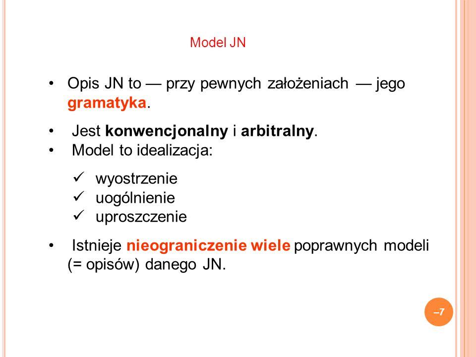 –7–7 Opis JN to przy pewnych założeniach jego gramatyka.