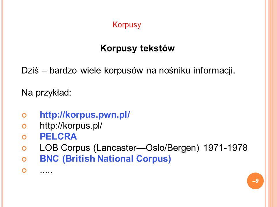Korpusy tekstów Dziś – bardzo wiele korpusów na nośniku informacji.