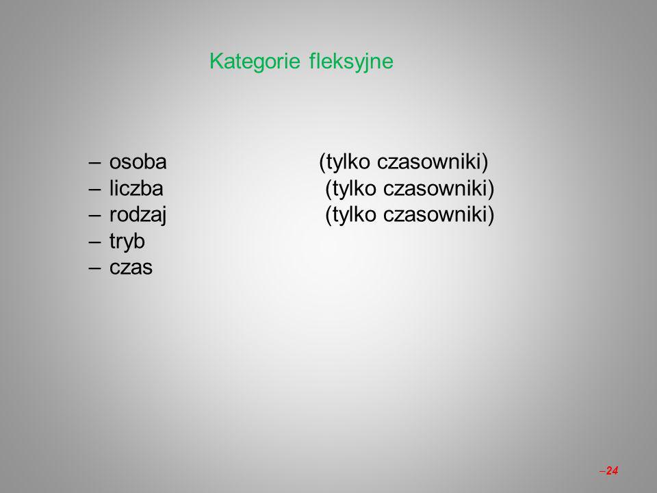 –osoba(tylko czasowniki) –liczba (tylko czasowniki) –rodzaj (tylko czasowniki) –tryb –czas Kategorie fleksyjne –24