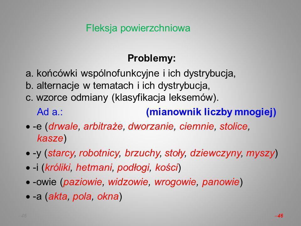 – 46 Problemy: a.końcówki wspólnofunkcyjne i ich dystrybucja, b.
