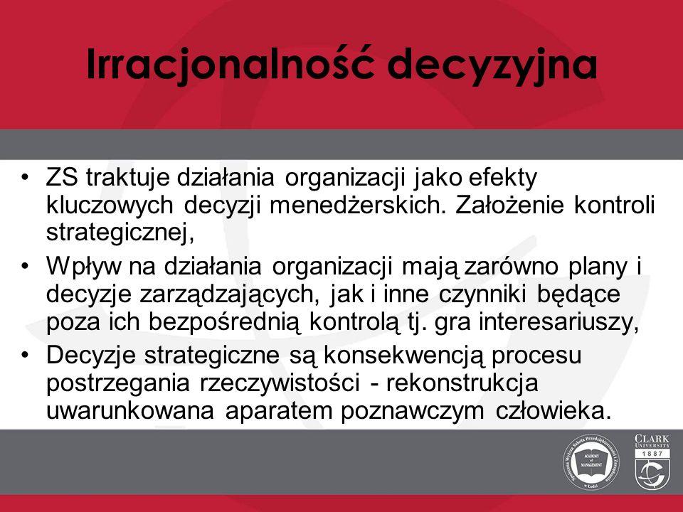 Irracjonalność decyzyjna ZS traktuje działania organizacji jako efekty kluczowych decyzji menedżerskich. Założenie kontroli strategicznej, Wpływ na dz