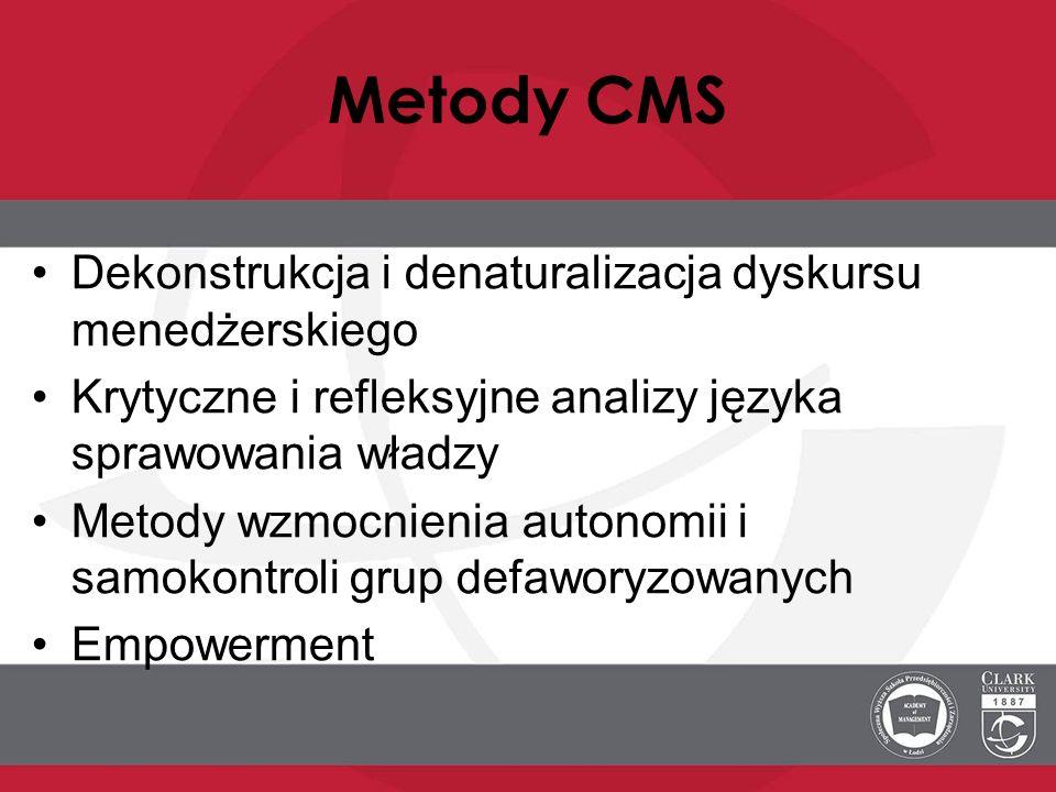 Metody CMS Dekonstrukcja i denaturalizacja dyskursu menedżerskiego Krytyczne i refleksyjne analizy języka sprawowania władzy Metody wzmocnienia autono