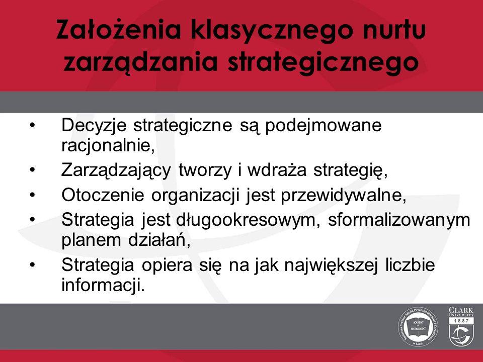 Założenia klasycznego nurtu zarządzania strategicznego Decyzje strategiczne są podejmowane racjonalnie, Zarządzający tworzy i wdraża strategię, Otocze